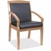"Lorell Guest Chair - Bonded Leather Black Seat - Bonded Leather Black Back - Solid Wood, Rubberwood Frame - Four-legged Base - Walnut - 20.13"" Seat Width x 17.37"" Seat Depth - 22.3"" Width x 24.7"" Dept"