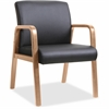 "Lorell Guest Chair - Bonded Leather Black Seat - Bonded Leather Black Back - Solid Wood, Rubberwood Frame - Four-legged Base - Walnut - 20.87"" Seat Width x 17.37"" Seat Depth - 24"" Width x 26.6"" Depth"
