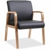 "Lorell Guest Chair - Bonded Leather Black Seat - Bonded Leather Black Back - Solid Wood, Rubberwood Frame - Four-legged Base - Walnut - 20.87"" Seat Width x 17.37"" Seat Depth - 24"" Width x 26.6"" Depth"