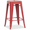 """Lorell Utility Stools - Red - Metal - 30.5"""" Width x 30.5"""" Depth x 26"""" Height"""