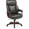 "Lorell Executive Chair - Black, Mahogany - Bonded Leather - 28"" Width x 31.8"" Depth x 45.5"" Height"