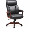 "Lorell Executive Chair - Bonded Leather Black Seat - Black Back - Cherry - 31.8"" Width x 28"" Depth x 45.5"" Height"