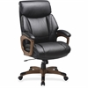 "Lorell Executive Chair - Black, Walnut - Bonded Leather - 31.8"" Width x 28"" Depth x 45.5"" Height"