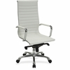 "Lorell Modern Executive Chair - Bonded Leather Seat - Bonded Leather Back - White - Leather - 20"" Seat Width - 24.4"" Width x 25"" Depth x 47"" Height"