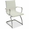 "Lorell Modern Guest Chair - Bonded Leather Seat - Bonded Leather Back - Cantilever Base - White - Leather - 23.8"" Width x 23.5"" Depth x 35.5"" Height"