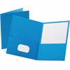 Esselte Oxford Twin Pocket Portfolios - 2 Pocket(s) - 11 pt. Folder Thickness - Leatherette - Light Blue - 10 / Pack