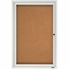 "® Enclosed Cork Bulletin Board for Outdoor Use - 36"" Height x 24"" Width - Brown Cork Surface - Silver Frame - 1 / Each"