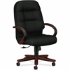 "Pillow-Soft 2191 High Back Executive Chair - Leather Black Seat - Fiber, Foam Back - Hardwood Mahogany Frame - 5-star Base - 22"" Seat Width x 21"" Seat Depth - 26.3"" Width x 29.8"" Depth x 46.5"" Hei"