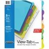 Wilson Jones® View-Tab® Transparent Dividers, Student Set w/Pocket, 5-Tab, Multicolor - 5 Tab(s) - 5 Tab(s)/Set - Transparent Polypropylene Divider - Multicolor Polypropylene, Transparent Tab(