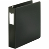 "Business Source 3-Ring Binders w/ Label Holders - 2"" Binder Capacity - Letter - 8 1/2"" x 11"" Sheet Size - 3 x Round Ring Fastener(s) - Vinyl - Black - Recycled - 1 Each"