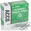 ACCO® Recycled Paper Clips - Jumbo - 20 Sheet Capacity - Reusable, Durable - 1000 / Pack - Silver - Metal