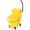 "Rubbermaid Commercial WaveBrake Bucket/Wringer - 26 quart - Tubular Steel, Plastic - 16.8"" x 15.6"" x 18.6"" - Yellow"