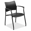 "Stack Chair with Arms - Plastic Black Seat - Plastic Black Back - 5-star Base - 23"" Width x 28"" Depth x 43"" Height"