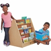 "ECR4KIDS Early Childhood Res.Doublee-Side Fabric Book Display - 28"" Height x 28"" Width x 13"" Depth - Floor - Fabric, Birch, Canvas - 1Each"