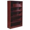 "Lorell Essentials Series Mahogany Laminate Bookcase - 36"" x 12"" x 60"" Bookshelf, Shelf - 5 Shelve(s) - Square Edge - Material: Medium Density Fiberboard (MDF) - Finish: Mahogany, Thermofused Laminate"