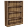 "Lorell Essentials Series Walnut Laminate Bookcase - Shelf, 36"" x 12.5"" x 48"" Bookshelf - 4 Shelve(s) - Square Edge - Material: P2 Particleboard - Finish: Walnut, Thermofused Laminate (TFL)"