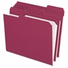 "Pendaflex Color Reinforced Top File Folders - Letter - 8 1/2"" x 11"" Sheet Size - 1/3 Tab Cut - Top Tab Location - 11 pt. Folder Thickness - Burgundy - 100 / Box"