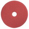 "Genuine Joe Red Buffing Floor Pad - 14"" Diameter - 5/Carton x 14"" Diameter x 1"" Thickness - Fiber - Red"