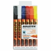 MOLOTOW One4All 2mm Acrylic Markers Basic Set - 2 mm Point Size - Round Point Style - Refillable - Signal White, True Blue, Dare Orange, Traffic Red, Signal Black, Signal Black - 6 / Set