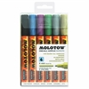 MOLOTOW One4All 4mm Acrylic Markers Metallic Set - 4 mm Point Size - Round Point Style - Refillable - Metallic Black, Metallic Blue, Metallic Pink, Metallic Silver, Metallic Gold, Metallic Light Green