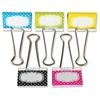 "Polka Dot Large Binder Clips - Large - 1"" Length x 2"" Width - for Classroom, Office - Write-on, Wipe-off - 5 Pack - Multi - Metal"