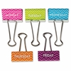 "Teacher Created Resources Chevron Large Binder Clips - Large - 1"" Length x 2"" Width - for Classroom, Office - Wipe-off, Write-on - 5 / Pack - Multi - Metal"
