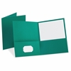 Oxford Twin Pocket Portfolios - 100 Sheet Capacity - 2 Pocket(s) - 11 pt. Folder Thickness - Leatherette - Teal - 10 / Pack