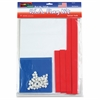 "WonderFoam Peel/Stick USA Flag Kit - 12"" x 9"" - 1 Kit - Assorted - Foam"