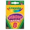 Crayola Neon Crayons - Carnation Pink, Sky Blue, Shamrock, Shocking Pink, Outrageous Orange, Melon, Atomic Tangerine, Laser Lemon - 8 / Box