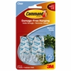 Command 2 lb. Strips Medium Hanging Hooks - 2 lb (907.2 g) Capacity - for Decoration - Plastic - Clear, Clear - 2 / Pack