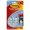Adhesive Strips Hanging Small Hooks - 1 lb (453.6 g) Capacity - for Decoration - Plastic - Clear, Clear - 2 / Pack