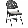 "Fanback Steel & Fabric Folding Chair (Case/4) - Fabric Gray, Steel Seat - Polypropylene Black Back - Steel Black Frame - Four-legged Base - 16.93"" Seat Width x 16.93"" Seat Depth - 19.3"" Widt"