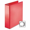 "Business Source Round Ring Binder - 3"" Binder Capacity - Round Ring Fastener - 2 Internal Pocket(s) - Red - 1 Each"