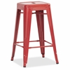 "Lorell Utility Stools - Red - Metal - 16"" Width x 16"" Depth x 26"" Height"
