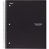 "Notebook - 100 Sheets - Spiral Bound - Wide Ruled 8"" x 10.50"" - Black Cover - Plastic Cover - 1Each"