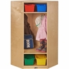 "ECR4KIDS Birch Corner Section Straight Coat Locker - 4 x Coat - 1 Compartment(s) - 48"" Height x 26"" Width x 26"" Depth - Natural - Birch - 1Each"