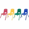 "ECR4KIDS 12"" Stack Chair with Matching Legs, 6 Piece - AS - Plastic Seat - Plastic Back - Steel Frame - Four-legged Base - Blue, Red, Yellow, Green - 15.5"" Width x 14.8"" Depth x 22.5"" Height"