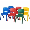 "ECR4KIDS 10"" Assorted Resin Chair Pack, 6 Piece - Blue, Red, Green, Yellow - Plastic, Resin, Polypropylene - 13.5"" Width x 12.5"" Depth x 20"" Height"
