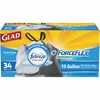 "Glad ForceFlex 13 gallon Tall Trash Bags - 13 gal - 24.02"" Width x 24.88"" Length - Ply - 34/Box - Kitchen"