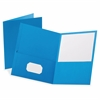 Esselte Twin Pocket Portfolios - 2 Pocket(s) - 11 pt. Folder Thickness - Leatherette - Light Blue - 10 / Pack