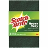 "Scotch-Brite -Brite Heavy Duty Scour Pads - 0.9"" Height x 6.3"" Width x 3.9"" Depth - 3/Pack - Synthetic Fiber - Green"