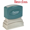 "Xstamper Pre-Inked FIRST CLASS Message Stamp - Message Stamp - ""FIRST CLASS"" - 0.50"" Impression Width x 1.62"" Impression Length - Red - Recycled - 1 Each"