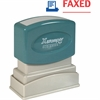 "Xstamper Red/Blue FAXED Title Stamp - Message Stamp - ""FAXED"" - 0.50"" Impression Width x 1.62"" Impression Length - 100000 Impression(s) - Red, Blue - Polymer - Recycled - 1 Each"