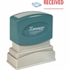 "Xstamper Pre-Inked Stamp - Message Stamp - ""RECEIVED"" - 0.50"" Impression Width x 1.62"" Impression Length - 100000 Impression(s) - Red, Blue - Polymer - Recycled - 1 Each"