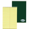 "TOPS Docket Steno Book - 100 Sheets - Printed - Coilock 6"" x 9"" - Canary Paper - Forest Green Cover - Chipboard Cover - Perforated, Hard Cover, Rigid - 1Each"