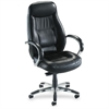 "Lorell Ridgemoor Executive High-Back Swivel Chair - Leather Black Seat - Aluminum Frame - 5-star Base - Black - Leather - 21"" Seat Width x 22.50"" Seat Depth"