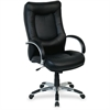 "Lorell Stonebridge Leather Executive High-Back Chair - Leather Black Seat - 5-star Base - Black - 20.90"" Seat Width x 22.50"" Seat Depth"