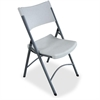 "Heavy-duty Tubular Folding Chair - Polyethylene Platinum Seat - Polyethylene Back - Steel Frame - Steel, Polyethylene - 18.5"" Width x 21.9"" Depth x 33.1"" Height"