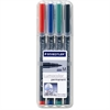 Staedtler Permanent Pen 317 - Medium Point Type - 1 mm Point Size - Refillable - Red, Blue, Green, Black - Black Polypropylene Barrel - 4 / Set