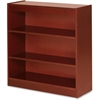 "Lorell Three Shelf Panel Bookcase - 36"" x 12"" x 36"" - 3 Shelve(s) - Material: Veneer, Wood - Finish: Cherry"